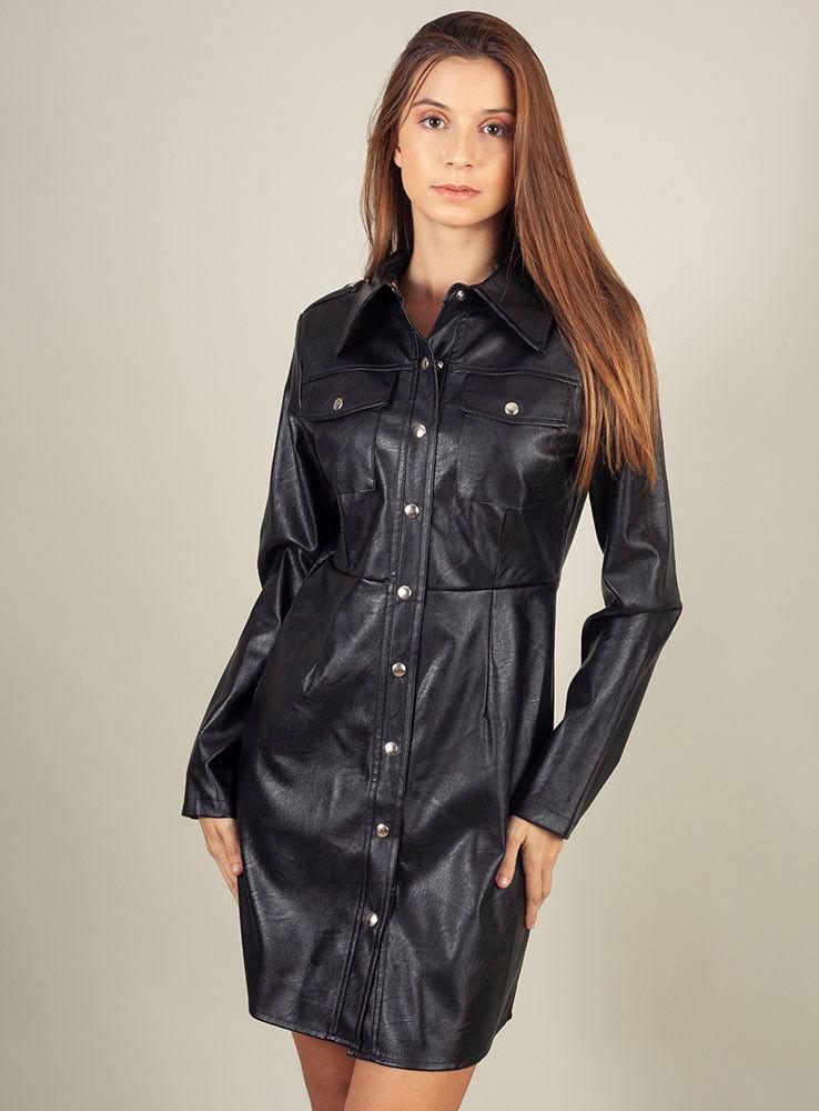 odi et amo vestido polipiel negro