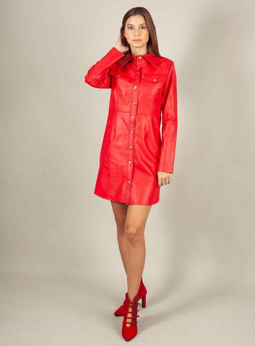 Odi et amo Vestido Polipiel Rojo