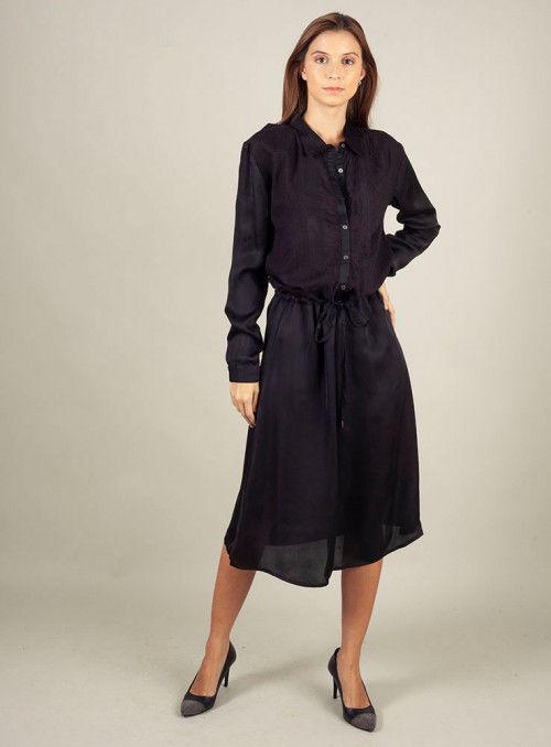 Nu Woman Vestido Camisero Negro