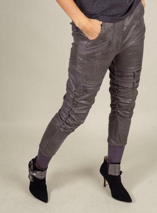 Nu Woman Pantalón Cremalleras Metalizado Gris