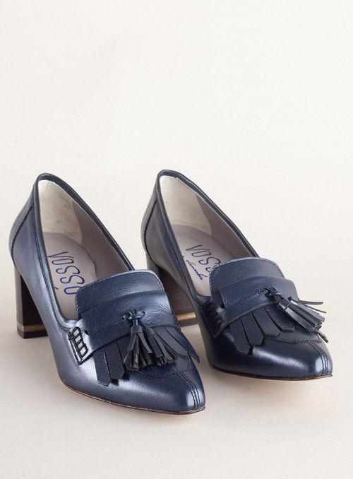 VOSSO Zapato Azul Metalizado Flecos