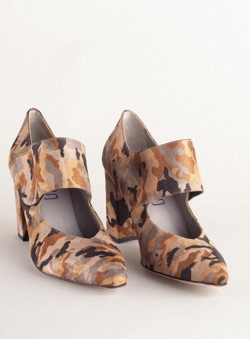 VOSSO Zapato Estampado Militar Marrón Pulsera