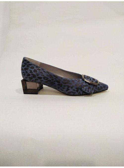 VOSSO Zapato Estampado Leopardo Azul
