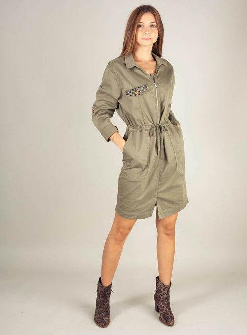 Silvian Heach Vestido militar pedrería