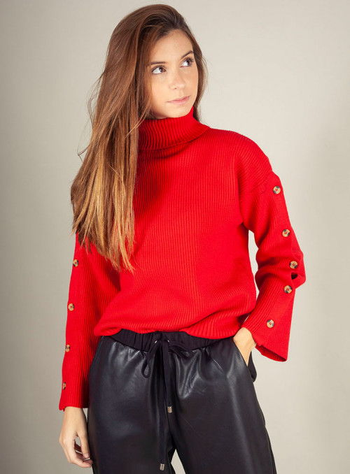 Silvian Heach Jersey rojo botones