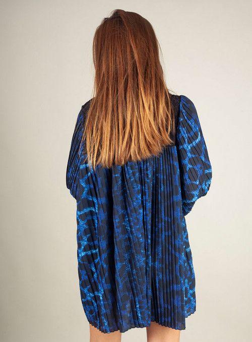 Odi et amo Vestido Plisado Estampado Leopardo Azul