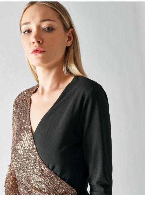 Rinascimento Vestido Combinado Paillettes