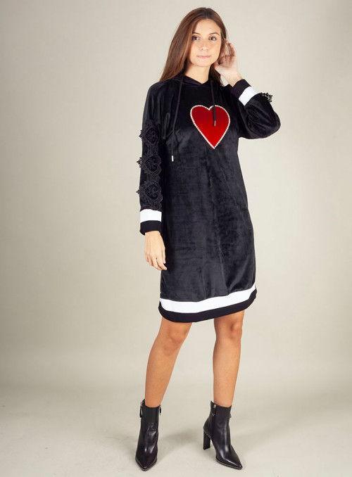 Odi et amo Vestido Terciopelo Negro Corazón
