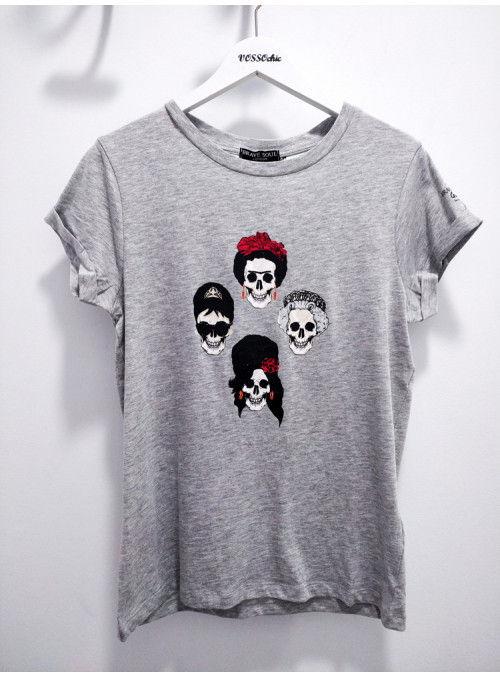 Brave Soul Camiseta gris calaveras