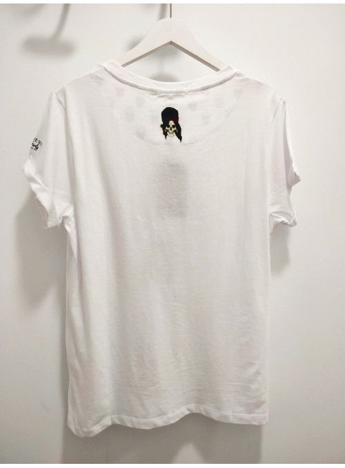 Brave Soul Camiseta blanca calaveras