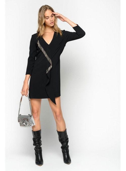 Pinko Vestido Negro Flecos Strass