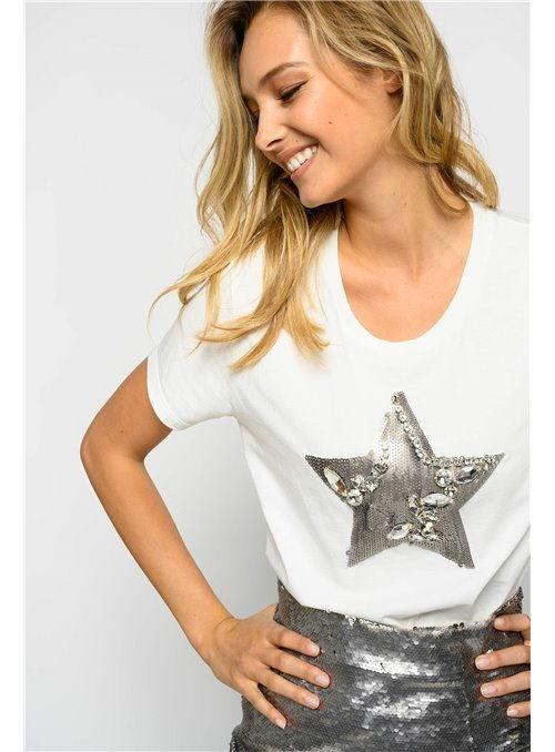 Pinko Camiseta blanca estrella