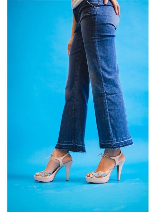 S.O.S. Pantalón Campana Azul Desflecado