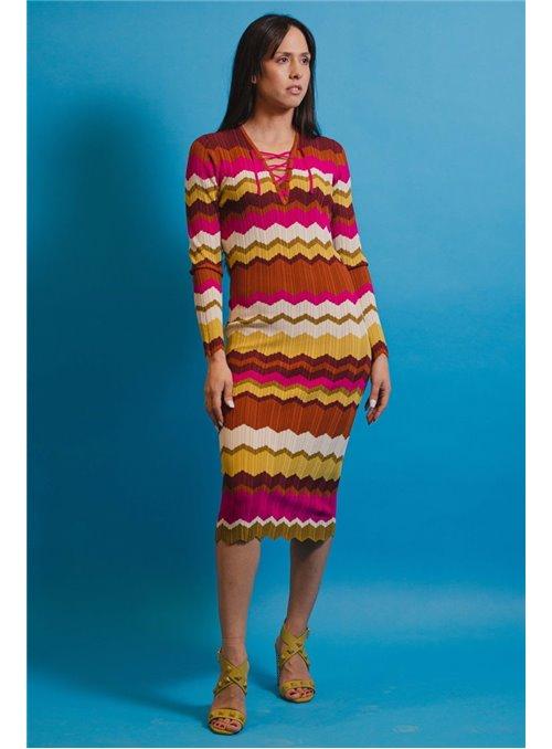 Pinko Vestido punto multicolor