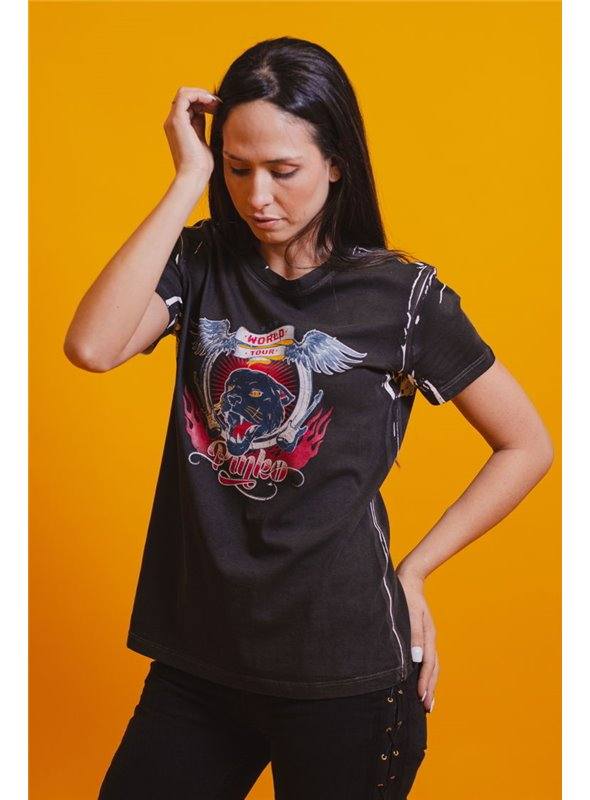 Pinko Camiseta Desgastada Gris