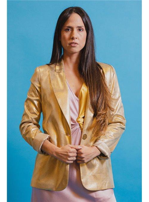 Cristina Effe Chaqueta Metalizada Oro