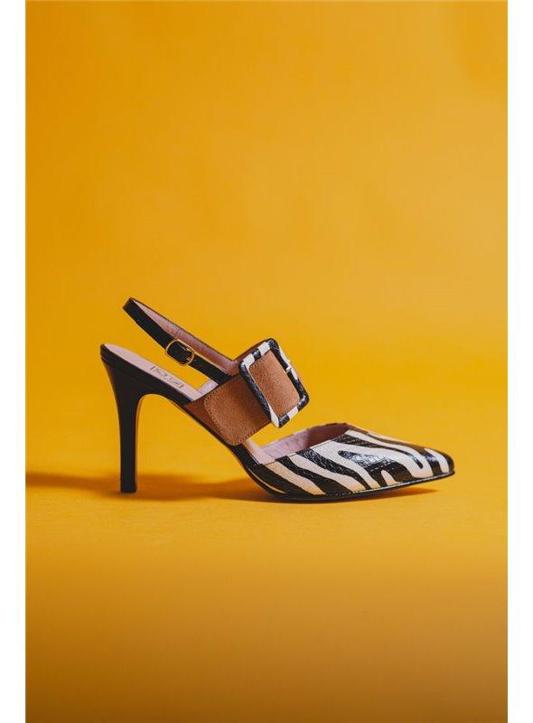 JONI Zapato Destalonado Estampado Cebra