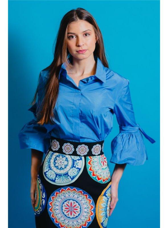 Moskada Camisa Mangas Volantes Azul