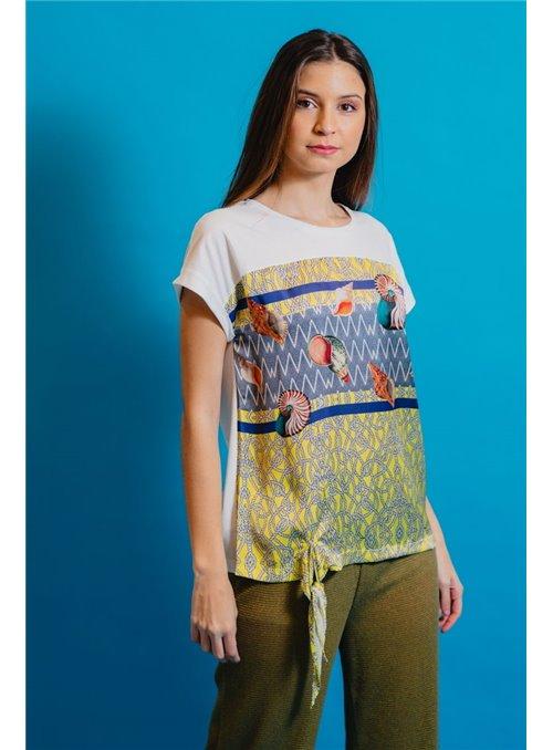 Pisonero Camiseta Estampado Conchas
