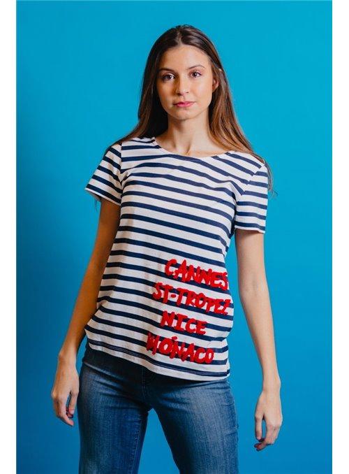 Pisonero Camiseta Rayas Marinera