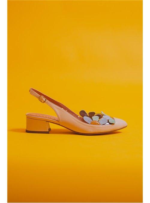 Sarah Verdel Zapato Destalonado Rosa Estampado Flores