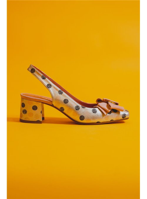 Sarah Verdel Zapato Metalizado Topitos Lazo Rosa