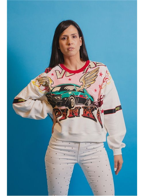 Pinko Sudadera cropped estampado rodeo
