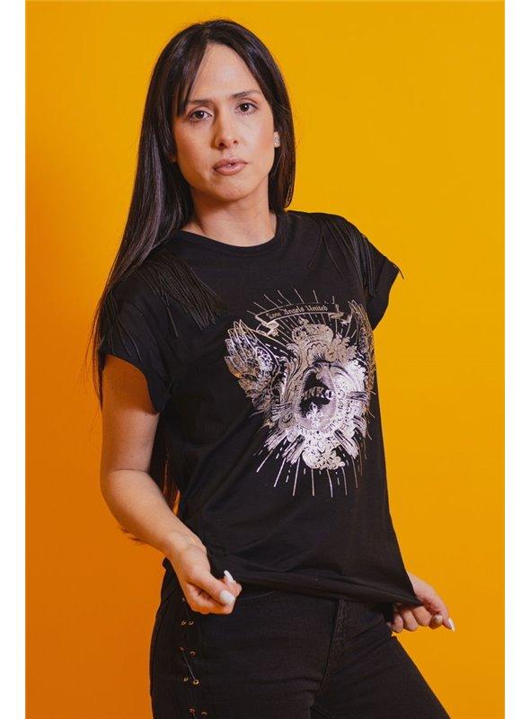 Pinko Camiseta Estampado Y Flecos