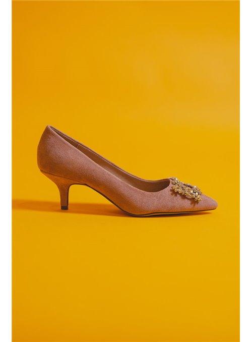 Vossochic Zapato nude pedrería