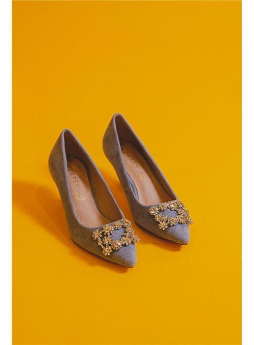 Vossochic Zapato celeste pedrería