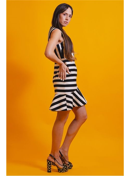 Pinko Vestido Rayas Blanco/Negro