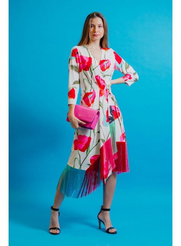 Moskada Vestido Estampado Flecos Colores