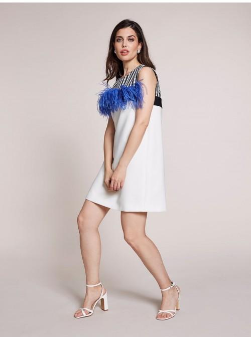 Moskada Vestido tricolor plumas avestruz