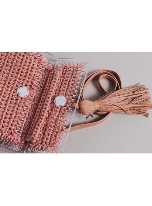 Kontessa Bolso Metacrilato Y Crochet Salmón