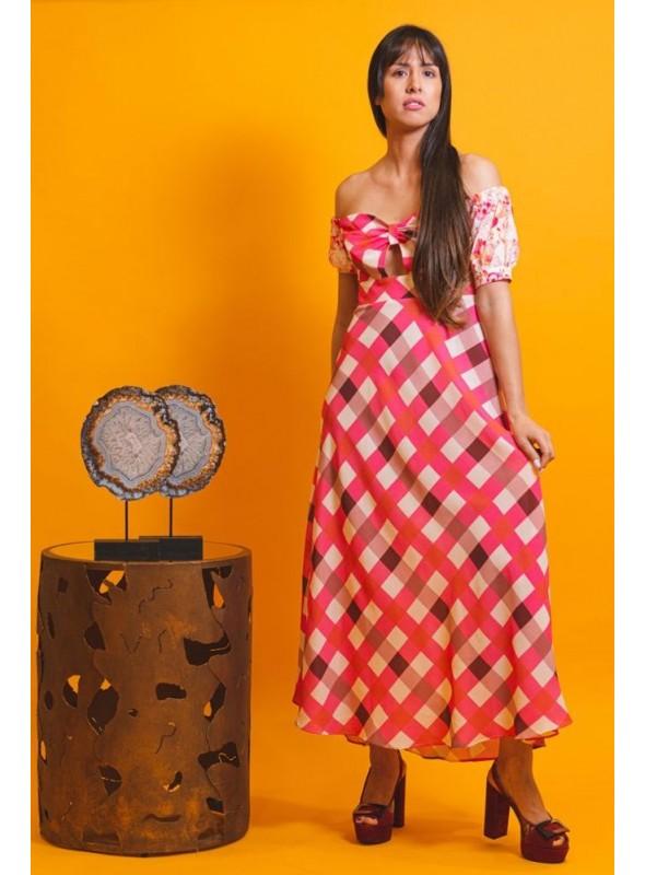 Cristina Beautiful life Vestido Estampado Cuadros Rosa
