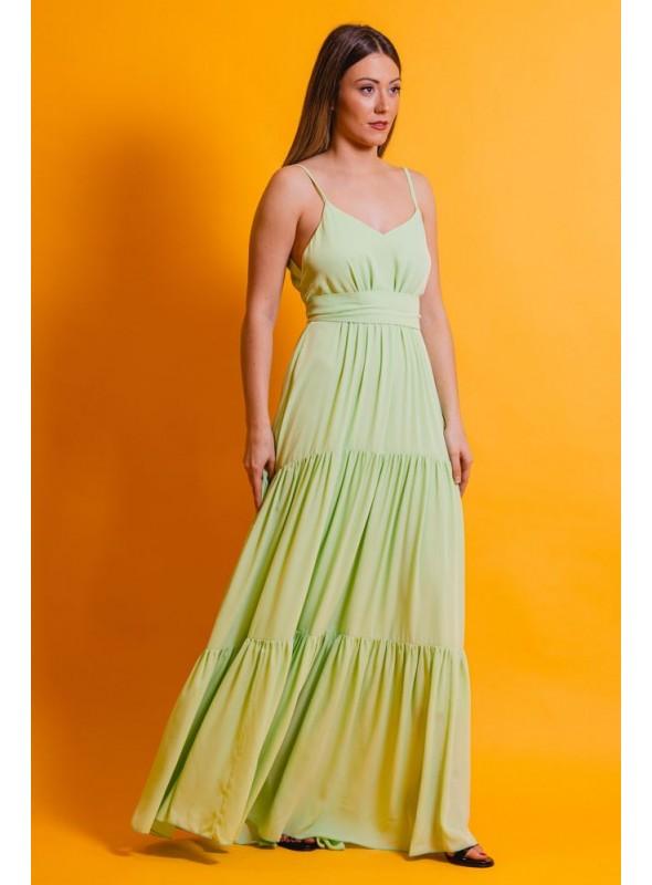 La Croixe Vestido Largo Verde Manzana