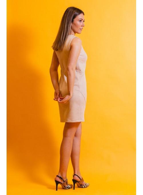 Rinascimento Vestido nude tachas doradas