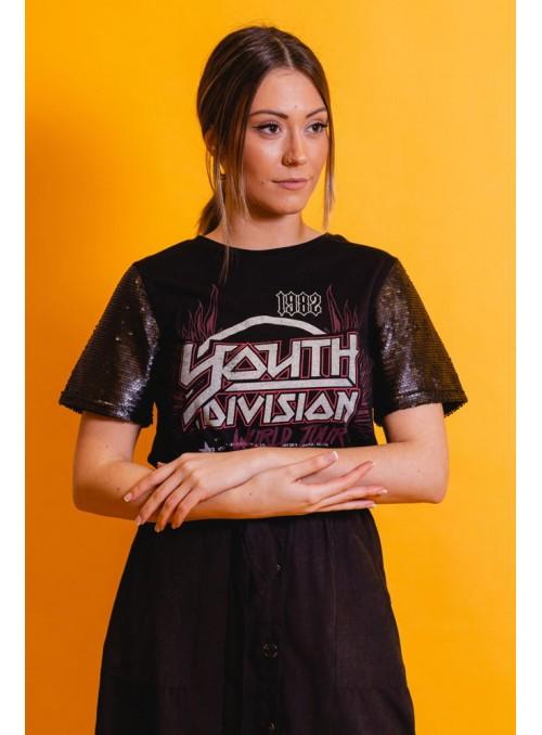 Brave Soul Camiseta mangas paillettes
