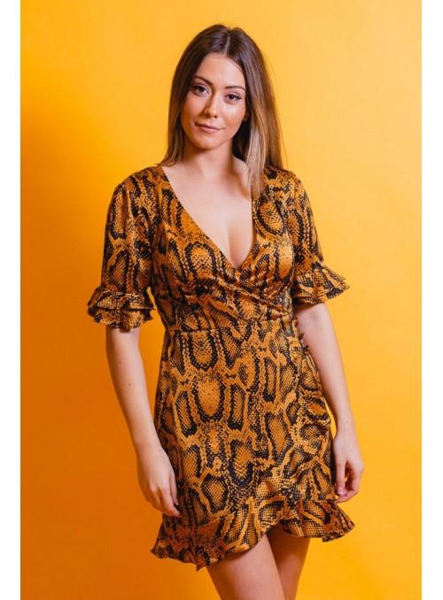 Brave Soul Vestido print ocre