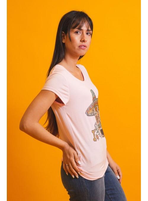 Brave Soul Camiseta rosa calavera mexicana