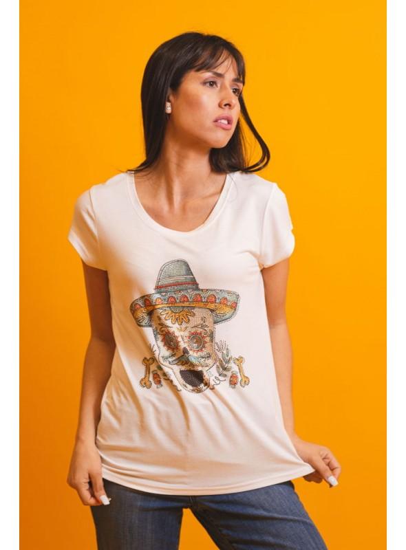 Brave Soul Camiseta blanca calavera mexicana