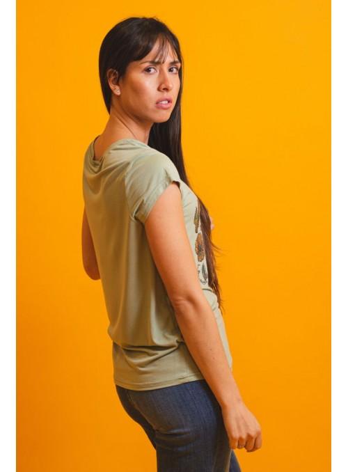 Brave Soul Camiseta verde calavera strass