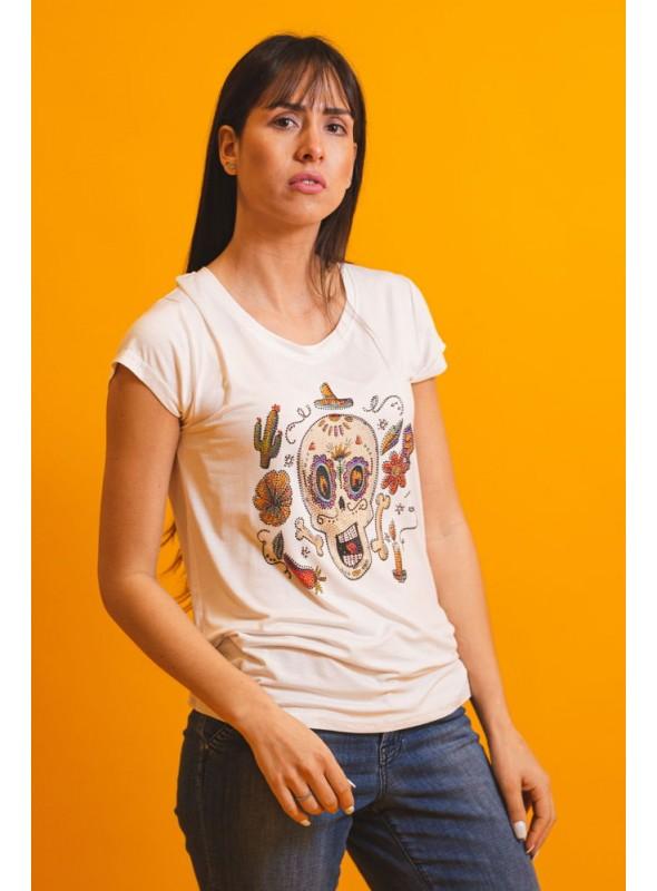 Brave Soul Camiseta blanco calavera strass