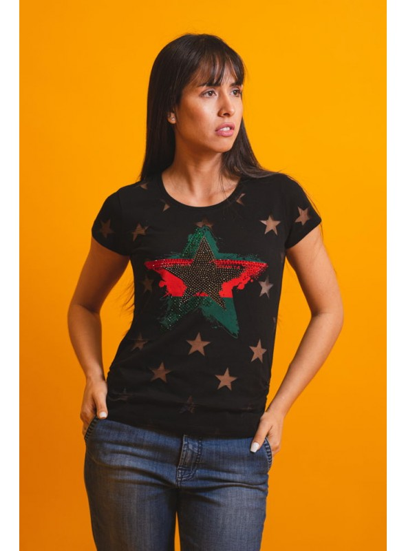 VOSSO Camiseta estrella strass