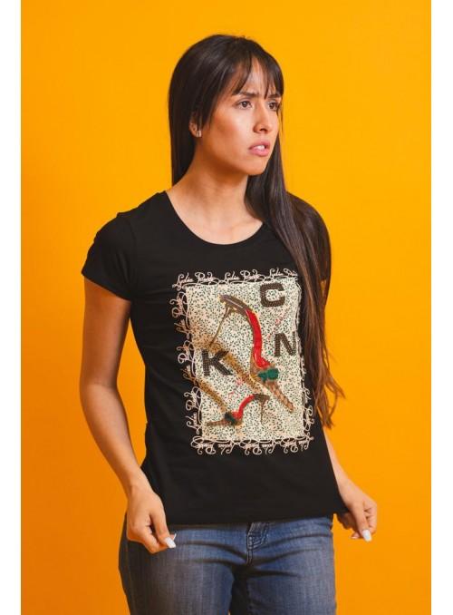 VOSSO Camiseta tacón strass
