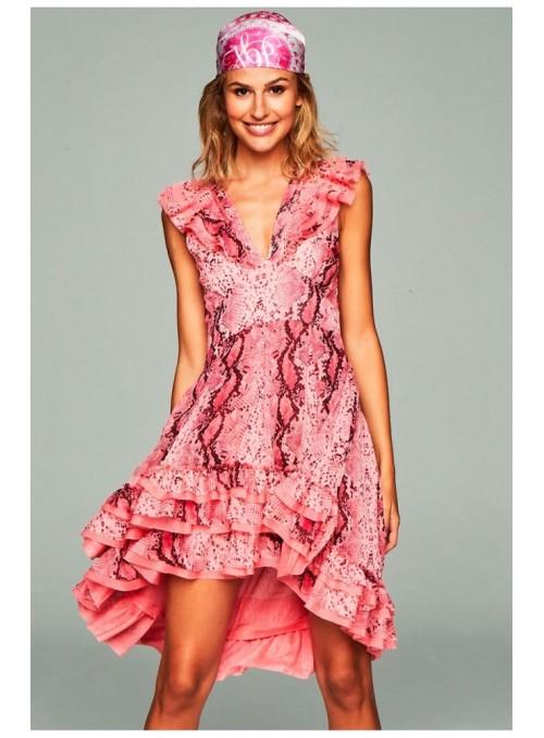 H. Preppy Vestido cola serpiente rosa