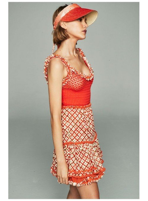 H. Preppy Vestido crochet y encaje coral