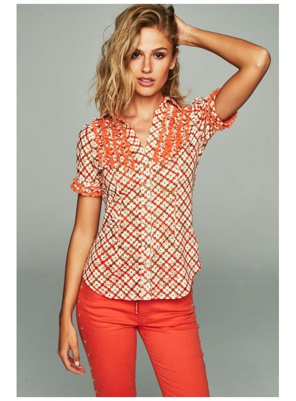 H. Preppy Camisa rombitos naranja