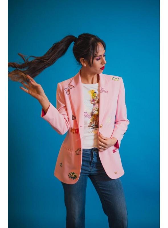 La Condesa Blazer estampada rosa