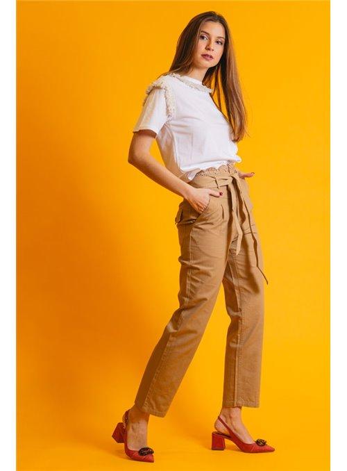 Twin Set Pantalón de lona con bordado inglés